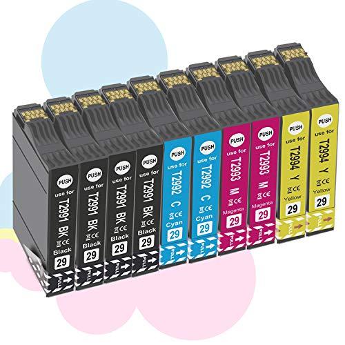 Ouguan - 10 Cartuchos de Tinta compatibles con Epson 29 XL 29 para Epson XP-342 XP-442 XP-245 XP-432 XP-345 XP-247 XP-235 XP-255 XP-257 XP-352 XP-452 XP-455 XP-335 XP-332 XP-435 XP-445