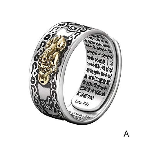 IWINO Sechs-Zeichen-Schnitzring Feng Shui Pixiu Amulett Reichtum Lucky Open verstellbare Ringe Frauen Männer buddhistisches Schmuckgeschenk anpassbare Männer