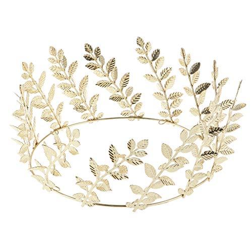 Baoblaze Couronne Ronde en Forme de Branche D'olivier Diadème Royale de Accessoire de Costume pour Mariage Soirée Fête Diamètre 15.5cm