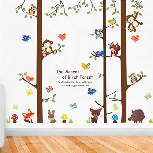 QTXINGMU Le Secret De La Forêt De Bouleaux Mural pour Décoration Chambres Enfants Cartoon Stickers Muraux Animaux Singe Hibou Art Mural Bricolage Affiches PVC