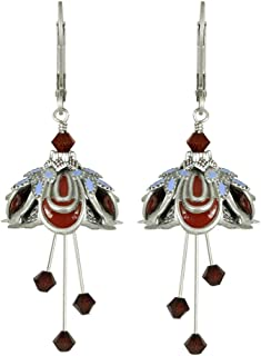 NoMonet Hand Painted Flower Fairy Earrings - Masquerade Earrings - Silver, Burgundy and Periwinkle