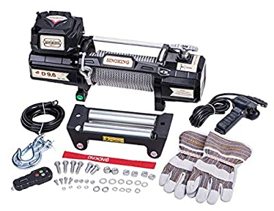 """Sinoking 12VDC 9600LB/4354kg Electric Winch, Off-Road Winch with 5/16""""×65?(feet) Wire Rope, Wireless Remote Control"""