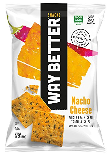 Way Better Snacks Sprouted Gluten Free Tortilla Chips, Nacho Cheese, 12 Count