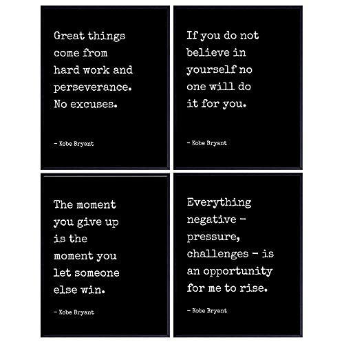 Kobe Bryant Motivational Quotes Posters Set - Gift for Los Angeles LA Lakers, Basketball, Sports Fans, Men, Boys, Teens - Bedroom, Living Room, Office Wall Decor - Inspirational Wall Art Decorations