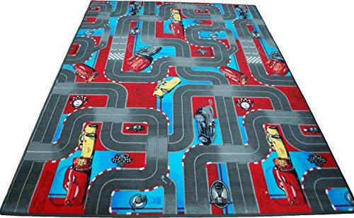 Kinderteppich Spielteppich Disney's Cars Velours grau Verschiedene Größen (120 x 180 cm)