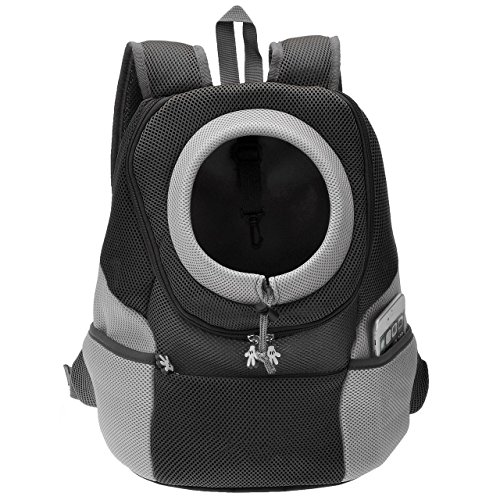 Septven Hohe Qualität Atmungsaktiv Haustier Hund Katze Tasche Rucksack für Hunde Hunderucksack (M, Schwarz)