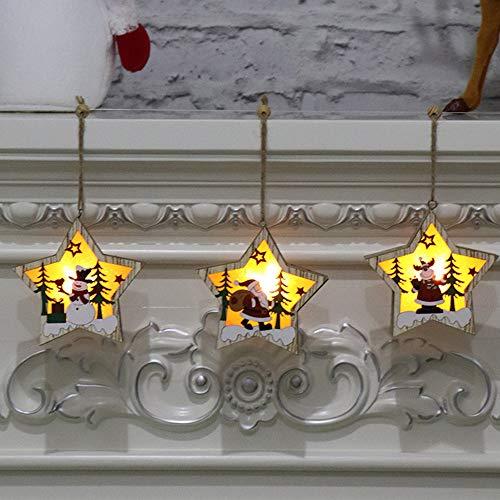 ZXXFR Kerstmis decoratie hanger 3 stuks pentagram hout licht tot kerst hanger oplichtend Xmas Tree Drop Ornament vakantiehuis verlichting voor kerstmis party decoratie