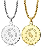 ORAZIO 2Pcs Bible Verse Prayer Necklace Christian Jewelry Stainless Steel Praying Hands Coin