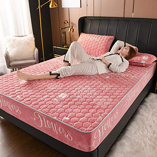 LCFCYY King Size Fitted Extra Deep,Thick cotton quilted warm coral velvet mattress top hat, full enveloping bed sheet for single double king-P_180x200cm