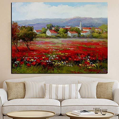 Frameloze schilderij Abstracte wilde rode bloemen klaproos landschap olieverfschilderij moderne pastorale poster artZGQ3979 40X50cm