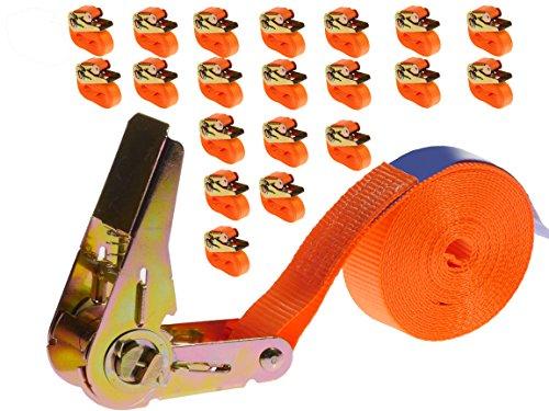 INDUSTRIE PLANET 20 Stück 800kg 4m Spanngurte mit Ratsche Zurrgurte einteilig 1 teilig Ratschengurte 25mm orange 800 daN 0,8t
