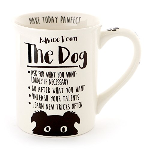 """Enesco 6000547 Our Our Name Is Mud """"Advice From The Dog"""" Stoneware Coffee Mug, 16 oz, White"""