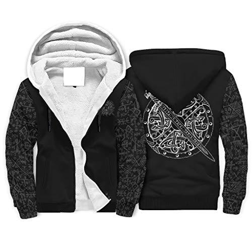 Sudadera con capucha y diseño de espada vikinga con impresión frontal y cremallera para hombre, divertida sudadera con capucha con bolsillos blanco XXL