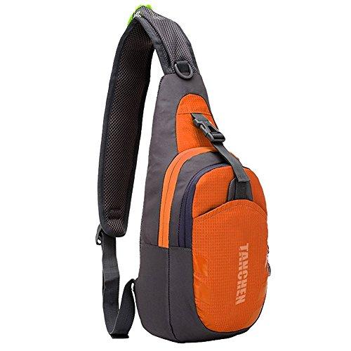 Tanchen Sac à dos à bandoulière imperméable, Homme mixte, Orange