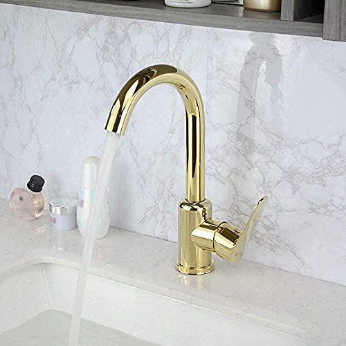 Grifo lavabo dorado estilo nórdico baño inodoro lavabo de acero inoxidable grifo de agua fría y caliente ahorro de agua salpicaduras de ahorro de agua (tamaño: A) -A