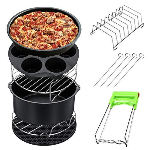 ZHENWOFC 8 Stücke 8 Zoll Luft Friteuse Zubehör Set Chips Gericht Backen Pizza Pan Kitchen Toolss 5,2~5,8 QT Hardware-Ersatzteile