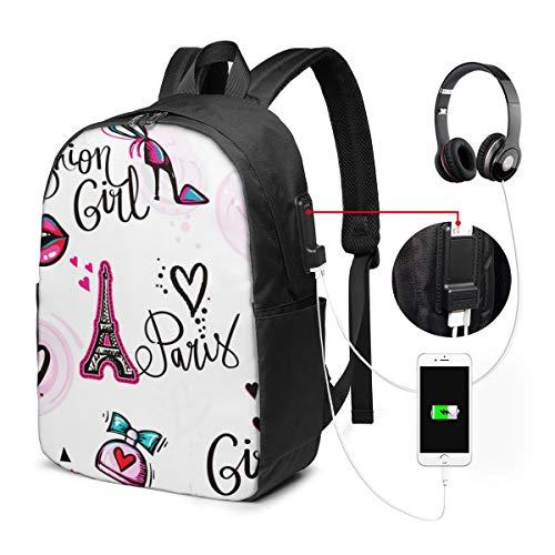 WEQDUJG Mochila Portatil 17 Pulgadas Mochila Hombre Mujer con Puerto USB, Beso de Chicas Adolescentes Mochila para El Laptop para Ordenador del Trabajo Viaje
