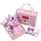 Haarspangen für Mädchen, Geschenk-box Set Haar-Accessoires für Baby-Boutique, Nette Haarspange Haarbänder für Kleine Mädchen Baby Kleinkind,18 Stück - Rosa (Lila)