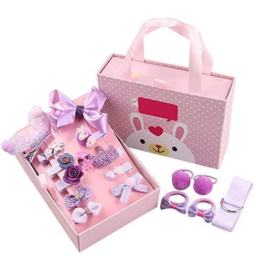 Haarspeldjes Haarspeldjes voor Meisjes Haaraccessoires Geschenkdoos Set voor Baby Boutique Peuters Haarbanden Lint Haarstrikken met Houder 18 STKS Paars