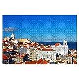 1000 Piezas Alfama Lisboa Portugal Santo EST & ecirc v & Atilde o y Santa Engr & Aacute CIA National Large Piece Jigsaw Puzzles para Adultos Juguete Educativo para niños Juegos Creativo