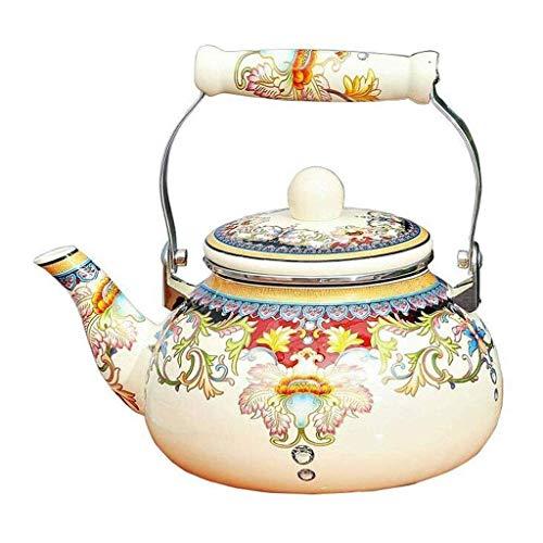 KTDT Kochkessel, Emaille auf Stahl Teekanne Blumen, großer Porzellan emaillierter Teekessel, Bunte Heißwasser-Teekessel Topf für Kochfeld (Größe: 2,5 l)