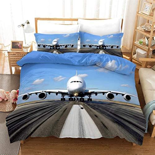 AMCYT Juego de ropa de cama para niños y adolescentes, diseño moderno de avión, con cremallera,...