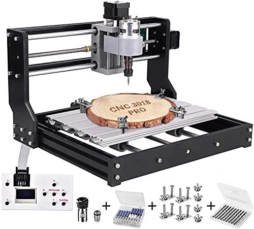 TOPQSC CNC 3018 Pro Fresatrice Macchina per incisione laser, Kit router di legno Controllo GRBL Mini macchina CNC , Fresatrice per PCB PVC a 3 assi in plastica acrilica con controller offline