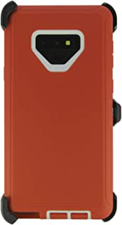 WallSkiN Turtle Series Cases for Samsung Galaxy Note 9 (Only) Tough Protection with Kickstand & Holster - Garnet (Red/White)