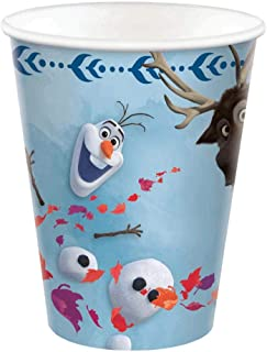 Frozen 2 Birthday, Olaf & Sven Paper Cups, 9 Oz., 8 Ct., Blue, (582087)