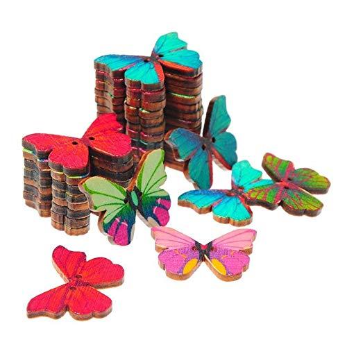 Ogquaton 50 Piezas Mariposas Flor DIY Botones de Madera de Costura Scrapbooking Vintage Botones Durable y útil