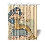 BBFhome Wasserdicht Dekorative Vintage Vintage Mermaid Art Duschvorhang 180x180 cm