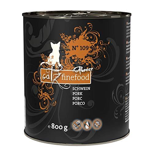 catz finefood Purrrr Schwein Monoprotein Katzenfutter nass N° 109, für ernährungssensible Katzen, 70% Fleischanteil, 6 x 800g Dose