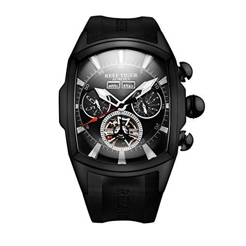 REEF TIGER Herren Uhr Analog Automatik mit Kautschuk Armband RGA3069-BBB