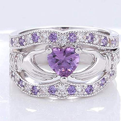 suchadaluckyshop 3PCs Irish Claddagh Celtic Heart Amethyst 925 Silver Wedding Ring Bridal Set New (9)