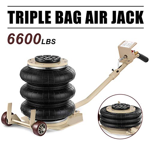 SHZOND Bag Air Jack 6600LBS Weight Capacity 3 Bag Pneumatic Jack Handy and Easy Storage Air Jack Lift for Fast Set Up on Frame Machine (3 Bag air Jack)