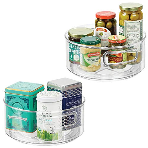 mDesign Plastic Lazy Susan Spinning Food Storage Turntable with Handles for Cabinet Pantry Refrigerator Countertop - Organizer for Spices Condiments Baking Supplies - 9 Round 2 Pack - Clear