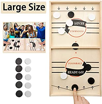 Large Size Fast Sling Puck Game Slingshot Board Games for Adult and Kids Foosball Board Game Slingshot Table Hockey Party Game Bouncing Chess Hockey Game Table Desktop Battle 2 in 1 Ice Hockey Game