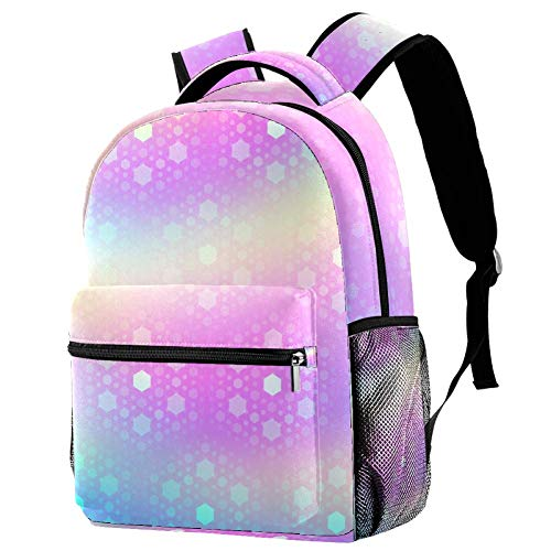 Backpack Rainbow Sequins School Backpack Lightweight for Boys Girls 29.4x20x40cm