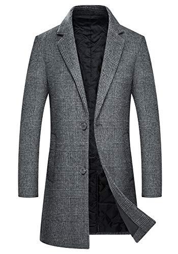 zeetoo Men's Wool Trench Coat Winter Slim Fit Wool Jacket Long Peacoat Overcoat Plaid Grey Large