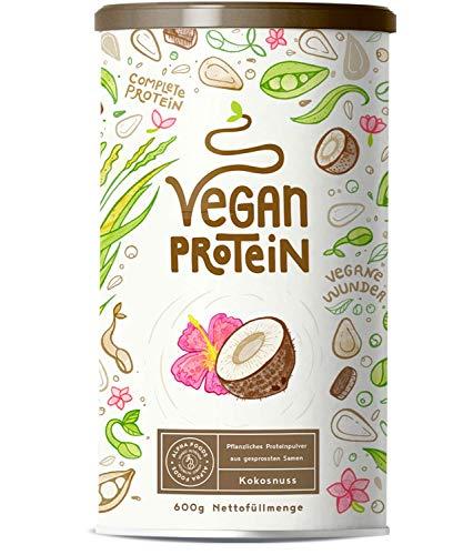 Vegan Protein | KOKOS | Kraftvoll und rein pflanzliches Proteinpulver mit Reis-, Soja-, Erbsen-, Chia-, Sonnenblumen- und Kürbiskernprotein | Ohne künstliche Süßstoffe und Aromen | 600 Gramm Pulver