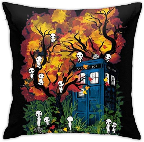 YIHAOWEIYE Doctor Who Studio Ghibli Kodama Forest Decorative Throw Pillow Covers cojín Cubierta for Sofa Couch Cushion Funda Cojines Pillow Cases