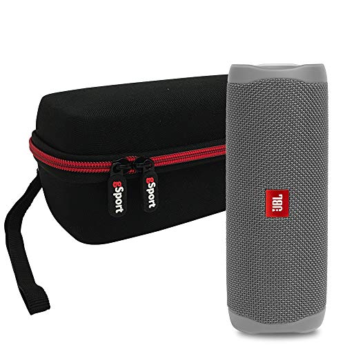 JBL FLIP 5 Portable Speaker IPX7 Waterproof On-The-Go Bundle with gSport Deluxe Hardshell Case (Gray)