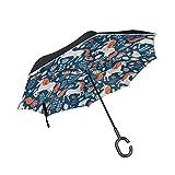 Unicornio azul paraguas invertido reversible para las mujeres y los hombres de viaje inverso a prueb...