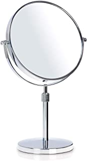 XZPENG Makeup Mirror,3X Magnification Double-sided 8-Inch Round Rotating Chrome High-Definition Adjustable Desktop Vanity Mirror (Size : 10 times)