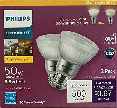 Philips LED Dimmable PAR20 40-Degree Indoor Flood Light Bulb with Warm Glow Effect 500-Lumen, 2200-3000 Kelvin, 5.5 Watts (50-Watt Equivalent), E26 Base, Bright White, 2-Pack