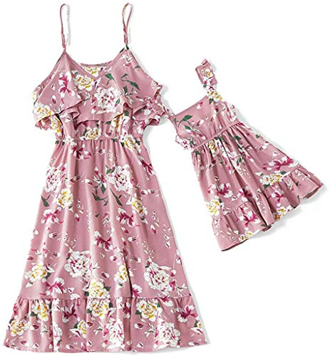 IFFEI Mommy and Me Dress Strappy Summer Matching Dress Floral Printed for Mother and Daughter Girl