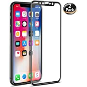 [2 Pack] DeFitch 3D Screen Protector Full Coverage Compatible iPhone Xs/iPhone X, Edge to Edge Tempered Glass Screen Protector, HD, Ultra Clear, Ultra-Thin, Compatible iPhone Xs/iPhone X/iPhone 10