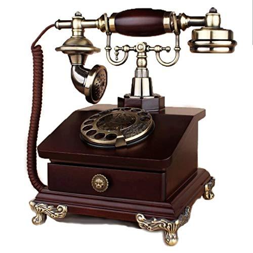 FHISD Teléfono Fijo Pantalla LCD Teléfono Vintage/Retro con Cuerpo de Madera y Metal, dial Giratorio Funcional Bandeja extraíble con botón pulsador clásico y clásico, cordón Rizado Tono de timbr