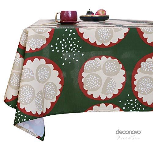 Deconovo Tovaglia Impermeabile Rettangolare Antimacchia in Tessuto Oxford Tovaglia Natalizia Elegante con Stampa Boccale di caffè per Feste 140x180cm Verde