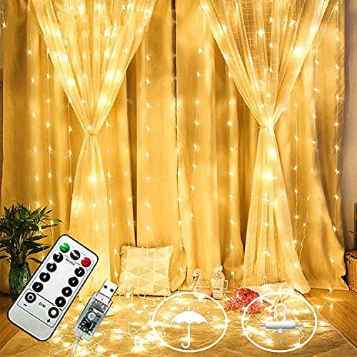 FINEVERNEK 3M * 3M Cortina de Luces, 3m x 3m 300 LED, Cortina Luces LED Exterior Interiores, 8 Modos de Luces, Guirnaldas Luminosas Decoración Interior y Exterior, Comedor, Casa, Boda, Fiesta